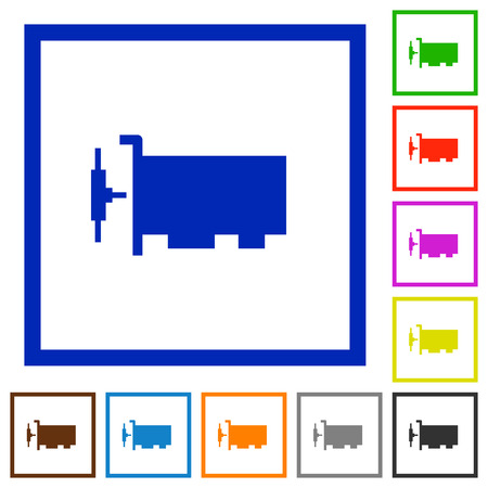 Network interface card flat color icons in square frames on white background
