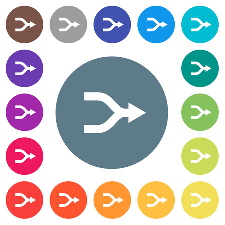 Merge arrows flat white icons on round color backgrounds. 17 background color variations are included.