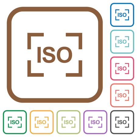 Camera iso speed setting simple icons in color rounded square frames on white background