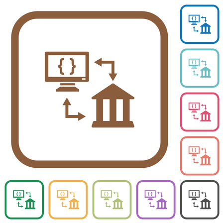 Open banking API simple icons in color rounded square frames on white background