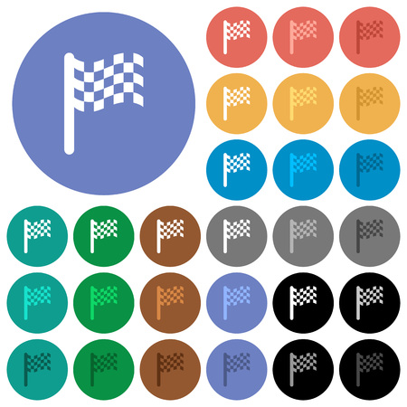 Race flag multi colored flat icons on round backgrounds. Included white, light and dark icon variations for hover and active status effects, and bonus shades on black backgounds.