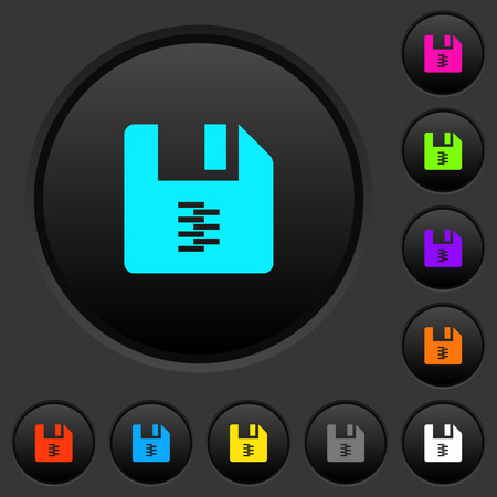 zip archive file dark push buttons with vivid color icons on dark grey background Illusztráció