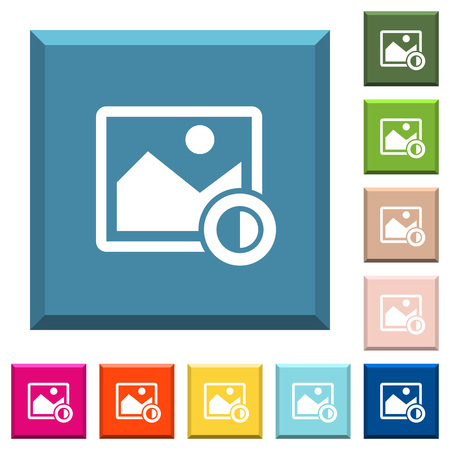 Adjust image contrast white icons on edged square buttons in various trendy colors Illustration