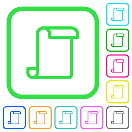 Blank paper scroll vivid colored flat icons in curved borders on white background Illustration