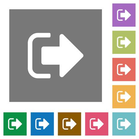 Cerrar sesión en iconos planos sobre fondos cuadrados de colores simples