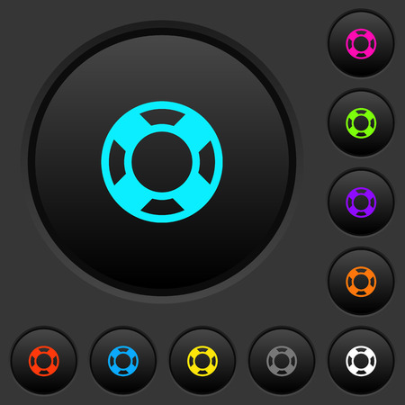 Lifesaver dark push buttons with vivid color icons on dark grey background