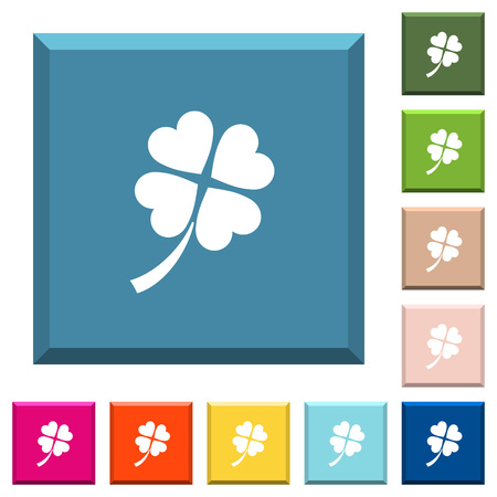 Four leaf clover white icons on edged square buttons in various trendy colors  イラスト・ベクター素材
