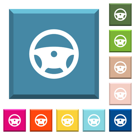 Steering wheel white icons on edged square buttons in various trendy colors