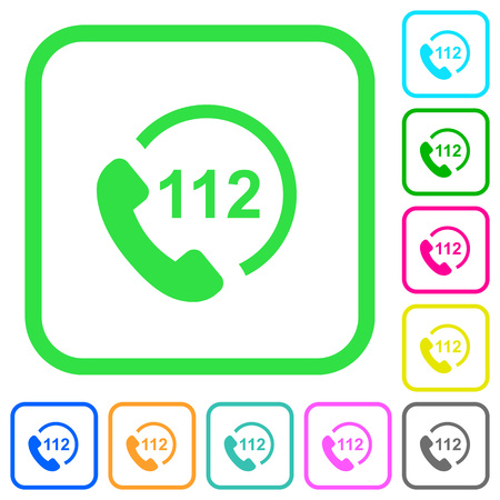 Emergency call 112 vivid colored flat icons in curved borders on white background Illustration
