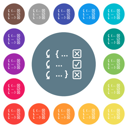 Debugging program flat white icons on round color backgrounds. 17 background color variations are included. Stock Illustratie
