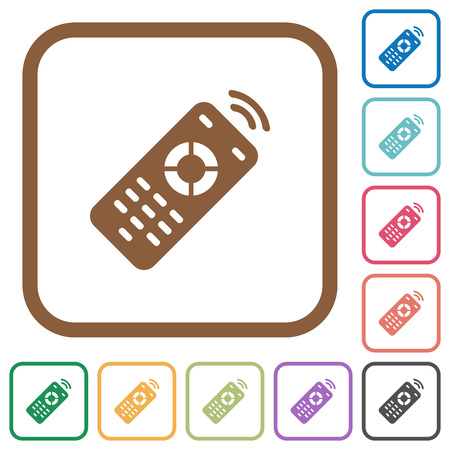 Working remote control simple icons in color rounded square frames on white background Illustration