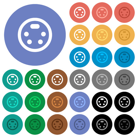 S-video connector multi colored flat icons on round backgrounds. Included white, light and dark icon variations for hover and active status effects, and bonus shades on black backgounds. Ilustração
