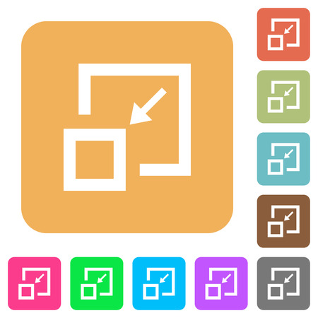 Shrink window flat icons on rounded square vivid color backgrounds.