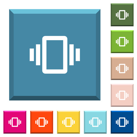 Smartphone vibration white icons on edged square buttons in various trendy colors