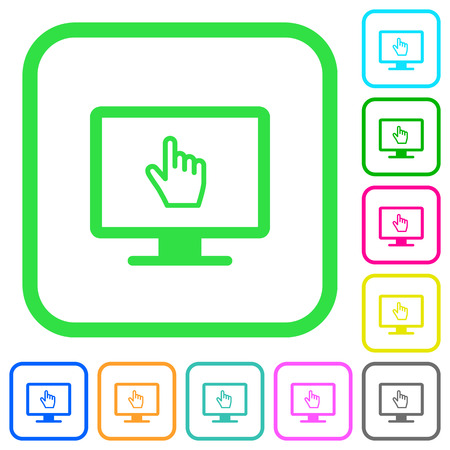 Monitor with pointing cursor vivid colored flat icons in curved borders on white background Illustration