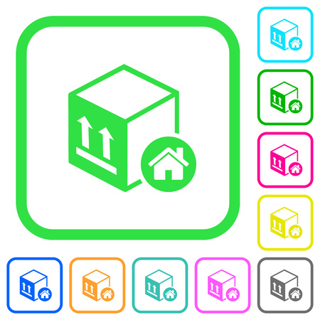 Package warehouse vivid colored flat icons in curved borders on white background