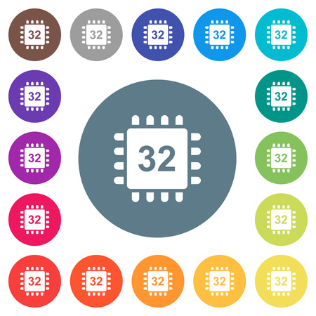 Microprocessor 32 bit architecture flat white icons on round color backgrounds. 17 background color variations are included. Illustration