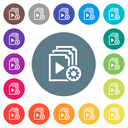 Playlist settings flat white icons on round color backgrounds. 17 background color variations are included.