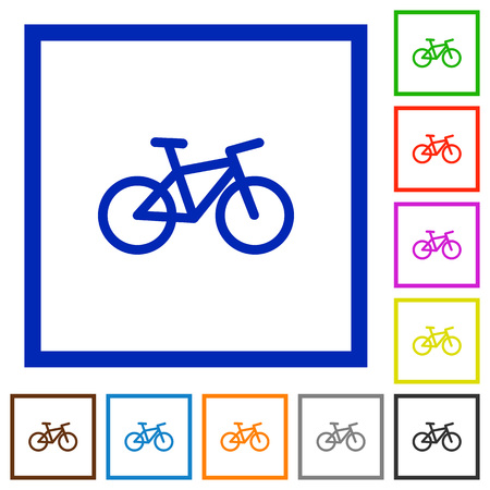 Bicycle flat color icons in square frames on white background