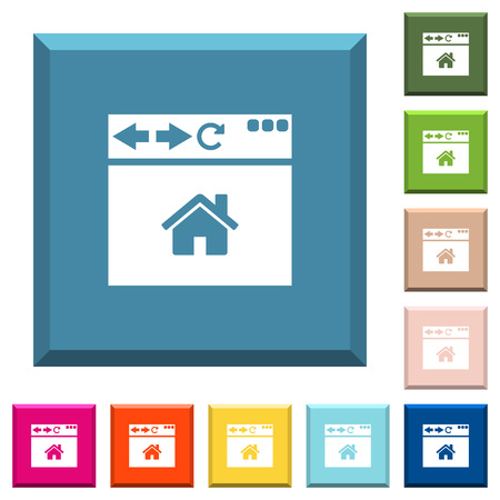 Browser home page white icons on edged square buttons in various trendy colors Banque d'images - 105843585