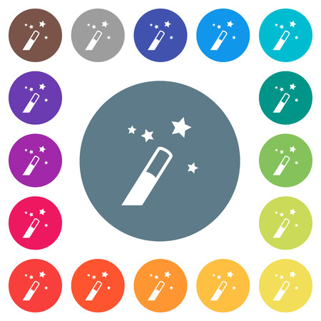 Application wizard flat white icons on round color backgrounds. 17 background color variations are included.