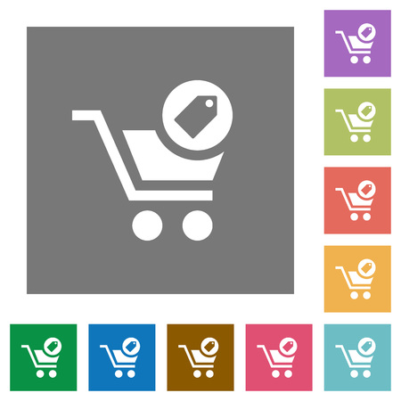 Product purchase features flat icons on simple color square backgrounds Ilustrace
