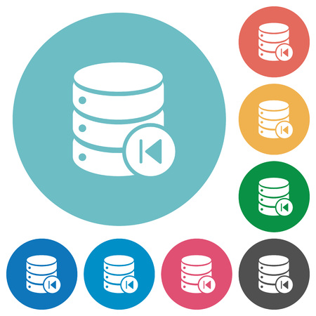 Database macro prev flat white icons on round color backgrounds