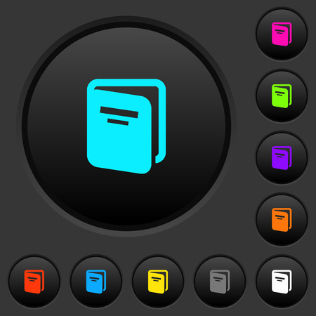 Album dark push buttons with vivid color icons on dark grey background