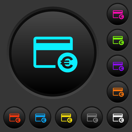 Euro credit card dark push buttons with vivid color icons on dark grey background
