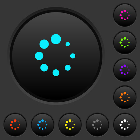 Preloader symbol dark push buttons with vivid color icons on dark grey background 向量圖像