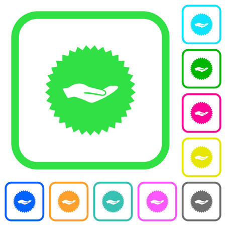 Hand in sticker vivid colored flat icons in curved borders on white background Illustration