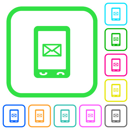 Unread SMS message vivid colored flat icons in curved borders on white background