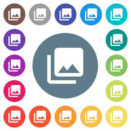 Photo library flat white icons on round color backgrounds. 17 background color variations are included.