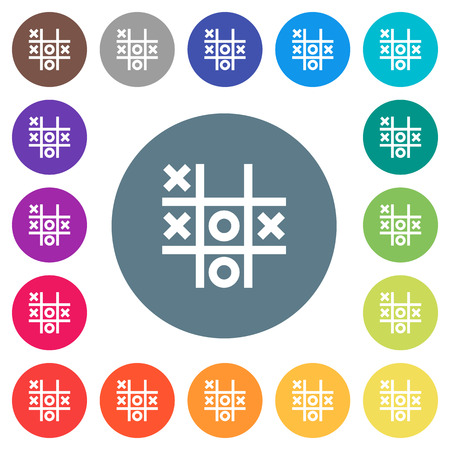 Tic tac toe game flat white icons on round color backgrounds. 17 background color variations are included.