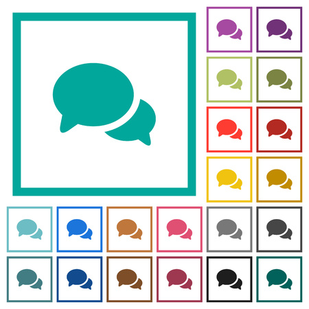 Discussion flat color icons with quadrant frames on white background