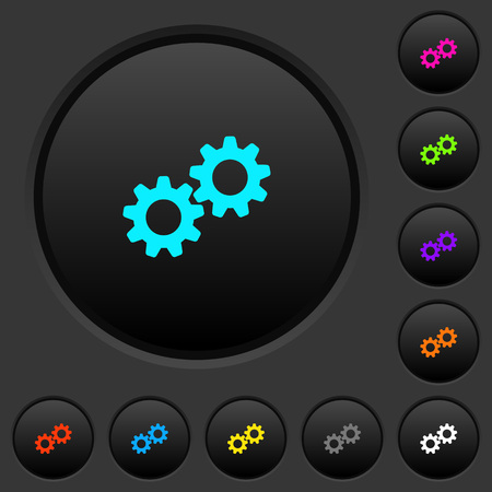 Collaboration dark push buttons with vivid color icons on dark grey background