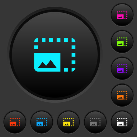 Enlarge photo dark push buttons with vivid color icons on dark grey background
