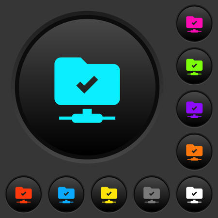 FTP operation successful dark push buttons with vivid color icons on dark grey background
