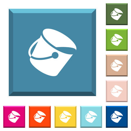 Paint bucket white icons on edged square buttons in various trendy colors Illustration