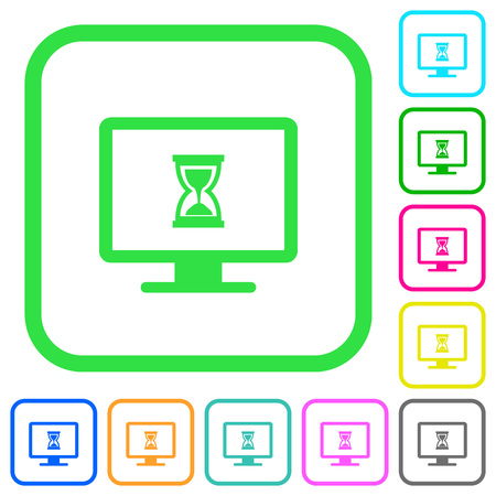 Busy computer vivid colored flat icons in curved borders on white background Illustration