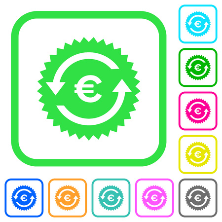 Euro pay back guarantee sticker vivid colored flat icons in curved borders on white background Çizim