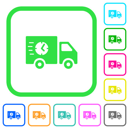 Fast delivery truck vivid colored flat icons in curved borders on white background