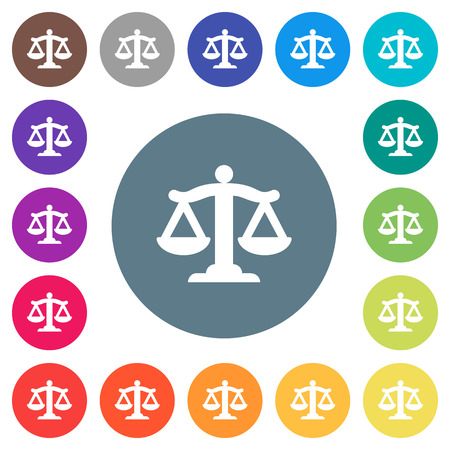 Scale of law flat white icons on round color backgrounds. 17 background color variations are included.