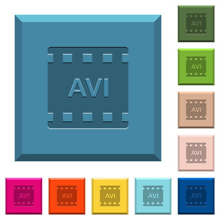 AVI movie format engraved icons on edged square buttons in various trendy colors