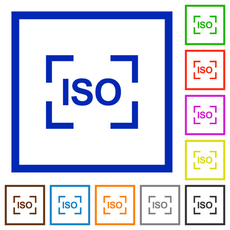 Camera iso speed setting flat color icons in square frames on white background 向量圖像