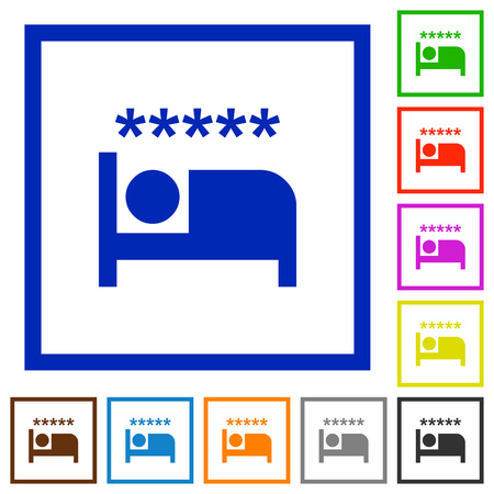 Luxury hotel flat color icons in square frames on white background