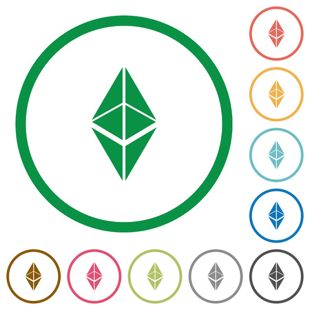 Ethereum classic digital cryptocurrency flat color icons in round outlines on white background