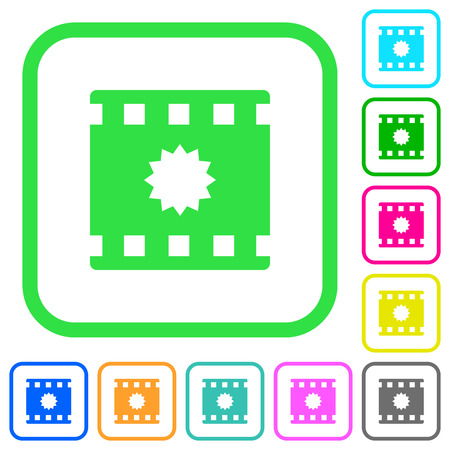 Certified movie vivid colored flat icons in curved borders on white background Illustration