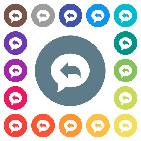 Reply message flat white icons on round color backgrounds. 17 background color variations are included. Stock Illustratie