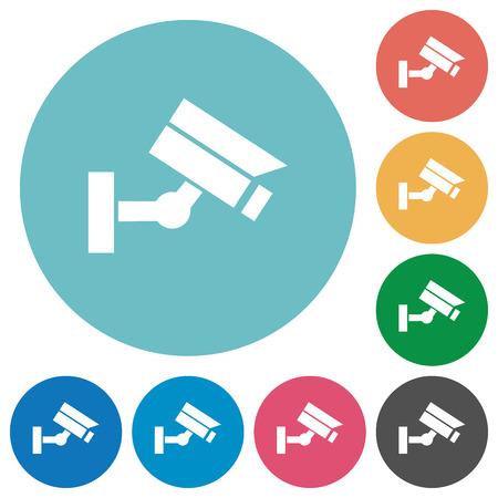 Security camera flat white icons on round color backgrounds Vektoros illusztráció